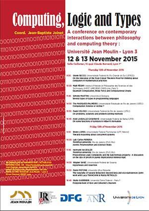 Colloque Computing, Logic and Types - 12 et 13 Novembre 2015