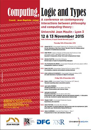 Colloque Computing, Logic and Types - 12 et 13 Novembre 2015