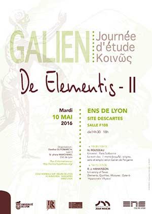Journée d'étude De Elementis de Galien - 10 mai 2016