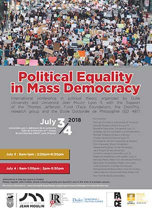 Political Equality in Mass Democracy - 3-4 juillet 2018